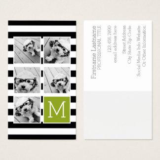 Tarjeta De Visita Monograma rayado del personalizado del collage de