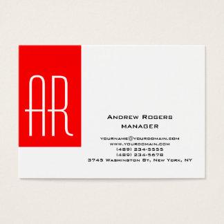 Tarjeta De Visita Monograma rojo blanco moderno rechoncho llano de