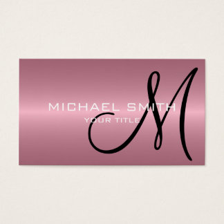 Tarjeta De Visita Monograma rosado del metal del acero inoxidable