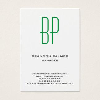 Tarjeta De Visita Monograma verde blanco minimalista llano moderno