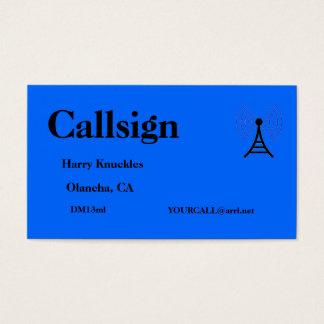 Tarjeta De Visita Muestra aficionada azul de la llamada por radio