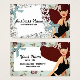 tarjeta de visita - mujer, moda, chica, diadema