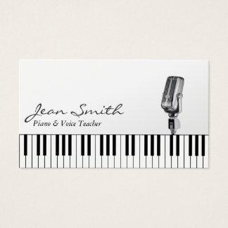 Tarjeta De Visita Música blanca musical del profesor del piano y de