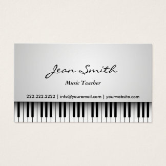 Tarjeta De Visita Musical blanco con clase del piano del profesor de