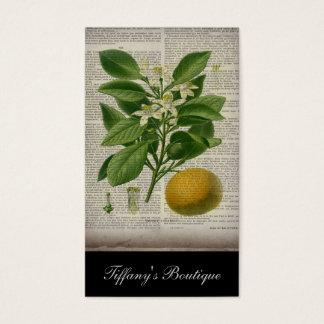 Tarjeta De Visita naranja botánico del arte del país francés moderno