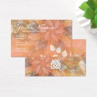 Tarjeta De Visita Naranja floral de la naturaleza + Plantilla de la