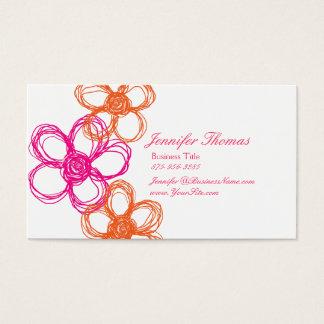 Tarjeta De Visita Naranja y planificador del boda del Wildflower de