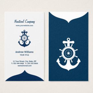Tarjeta de visita náutica del ancla azul