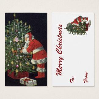 Tarjeta De Visita Navidad del vintage, Papá Noel con los presentes