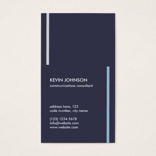 Tarjeta De Visita Navy blue minimal masculine professional card