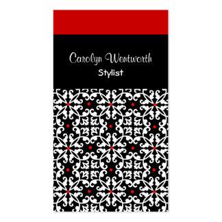Tarjeta de visita negra, blanca y roja bonita del