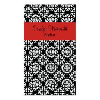 Tarjeta de visita negra, blanca, y roja elegante