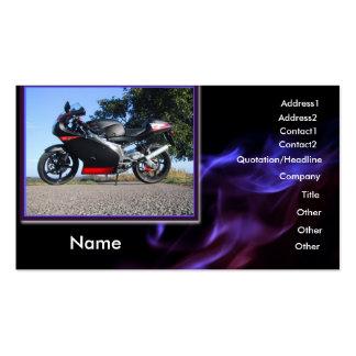 Tarjeta de visita negra y roja de la moto