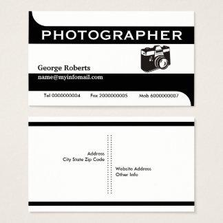 Tarjeta De Visita Negro de la cámara del fotógrafo, moderno blanco