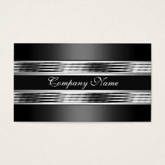 Tarjeta De Visita Negro de plata elegante 3 del metal del cromo