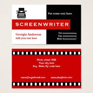 Tarjeta De Visita Negro del guionista, blanco, rojo llamativo