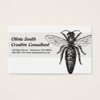 Tarjeta De Visita Negro del vintage del dibujo de la abeja reina