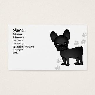Tarjeta De Visita Negro lindo del dibujo animado del dogo francés