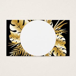 Tarjeta De Visita Negro y plantilla tropical elegante de las hojas