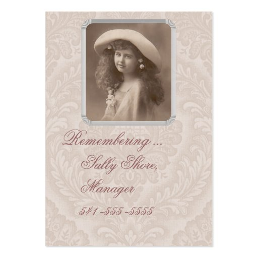 Tarjeta de visita nostálgica que recuerda al chica