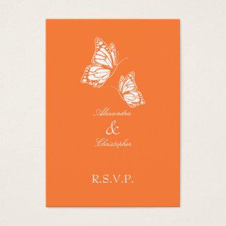 Tarjeta De Visita Nota anaranjada simple de RSVP de la mariposa mini