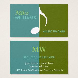 Tarjeta De Visita nota musical sobre moderno azul y verde