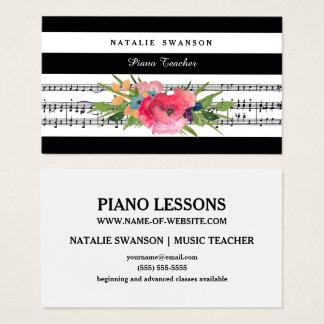Tarjeta De Visita Notas musicales modernas florales elegantes del