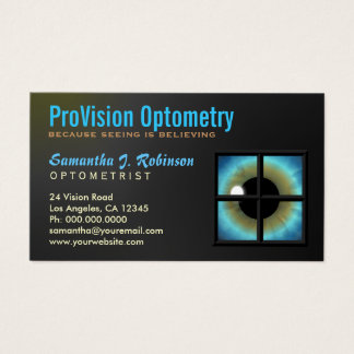 Tarjeta De Visita Ojo azul fresco con Eyecare del optometrista de la