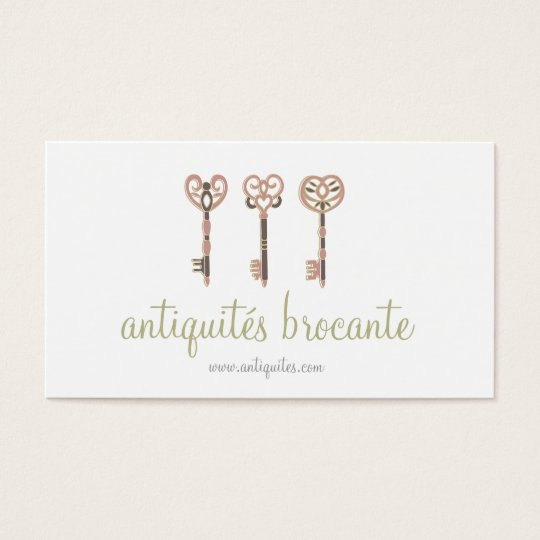 Tarjeta De Visita Old keys medieval vintage illustration card
