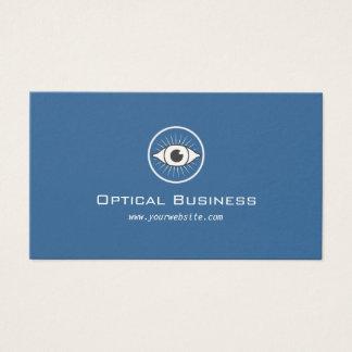 Tarjeta de visita óptica azul del vintage del