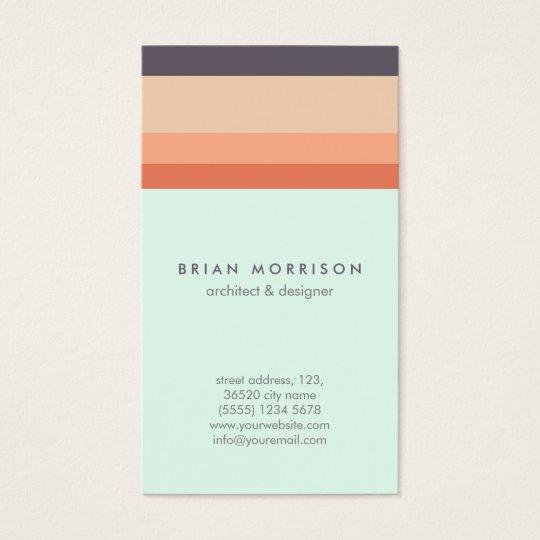 Tarjeta De Visita Orange stripes elegant minimal modern retro design