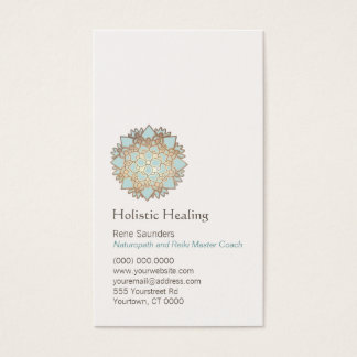 Tarjeta De Visita Oro azul salud holística y natural de Lotus
