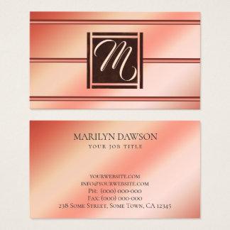Tarjeta De Visita Oro color de rosa elegante moderno y monograma