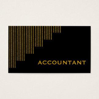 Tarjeta De Visita Oro, contable de las rayas verticales del negro