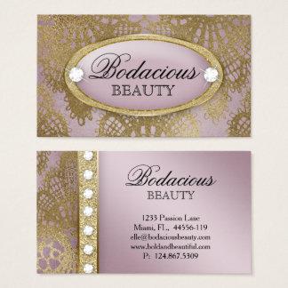 Tarjeta De Visita Oro de color de malva 2 de la belleza del