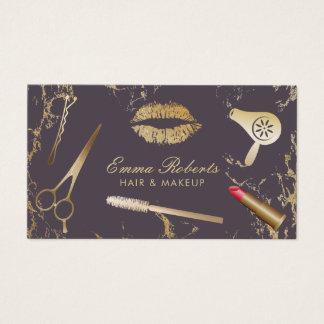Tarjeta De Visita Oro de moda y púrpura del salón de pelo del