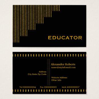Tarjeta De Visita Oro, educador de las rayas verticales del negro