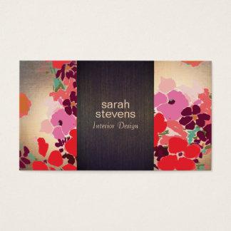 Tarjeta De Visita Oro floral colorido de madera del interiorista del