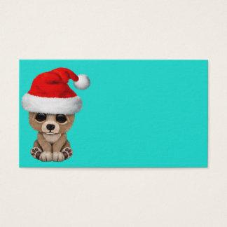 Tarjeta De Visita Oso del bebé que lleva un gorra de Santa