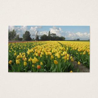 Tarjeta De Visita Paisaje amarillo del molino de viento del campo de