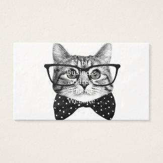 Tarjeta De Visita pajarita del gato - gato de los vidrios - gato de