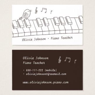 Tarjeta De Visita Pájaro del canto en profesor de piano de la música
