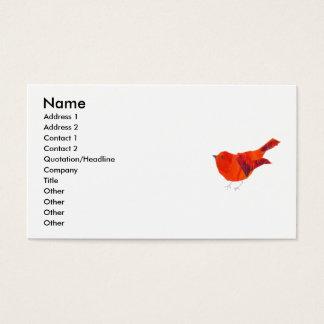 Tarjeta De Visita Pájaro del rojo de los animales de la naturaleza
