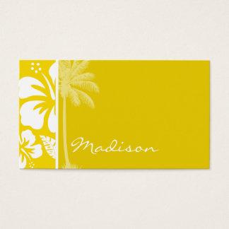 Tarjeta De Visita Palma tropical hawaiana amarilla de oro