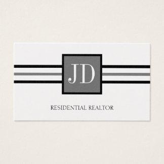 Tarjeta De Visita Papel residencial del platino del monograma del