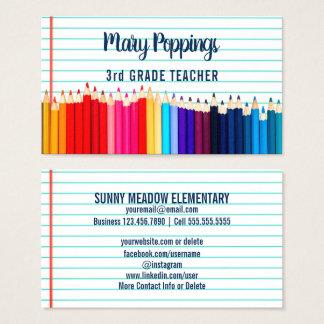 Tarjeta De Visita Papel social de los lápices del profesor de los