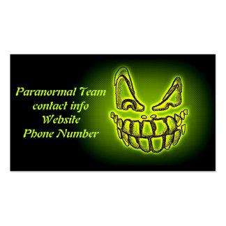 Tarjeta de visita paranormal del equipo del fantas