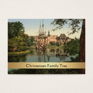 Tarjeta De Visita Parque de Tivoli, árbol de familia de Copenhague,