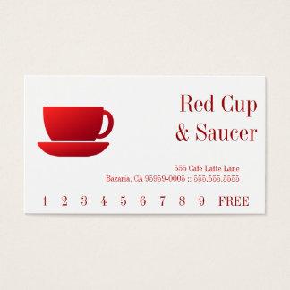 Tarjeta De Visita Parte posterior roja de la taza y del platillo y