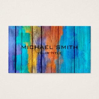 Tarjeta De Visita Pastel coloreado en la madera #10